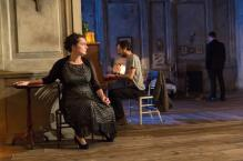 Kate Duchêne (Lyubov Ranevskaya) and Paul Hilton (Peter Trofimov) in The Cherry Orchard at the Young Vic Photo by Stephen Cummiskey