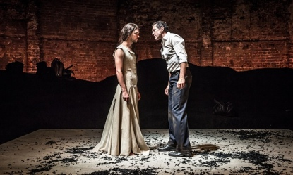 Ben Whishaw and Bertie Carvel face off in Bakkhai Almeida Theatre Photo credit Marc Brenner